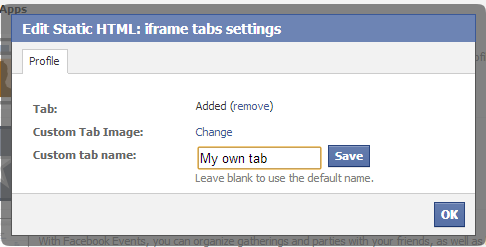 iframe tabs settings