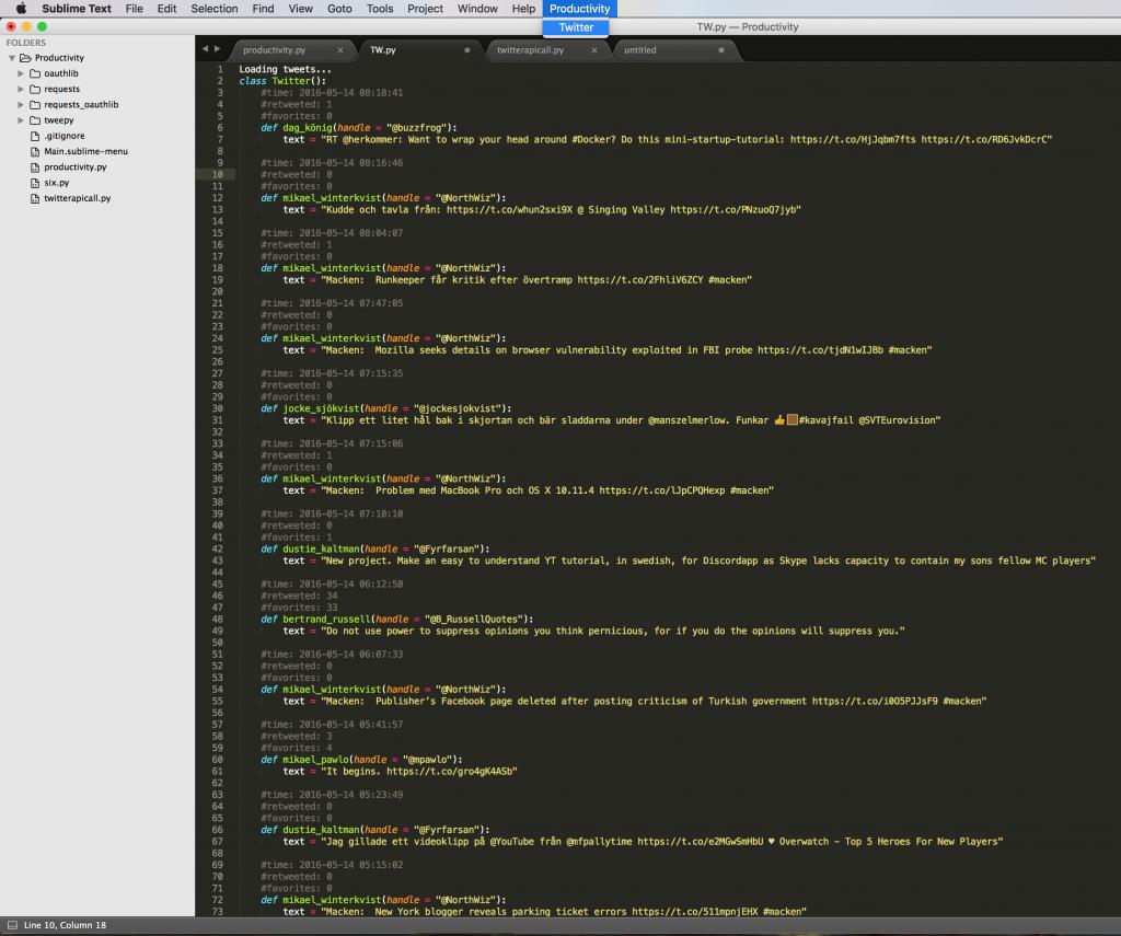Sublime Productivity screenshot