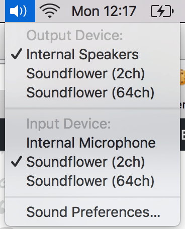 Soundflower - menu