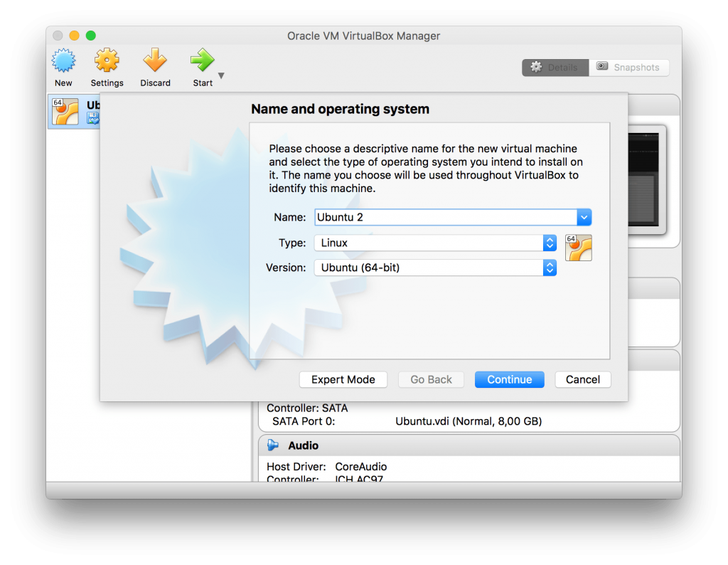 Name and operating system - VirtualBox
