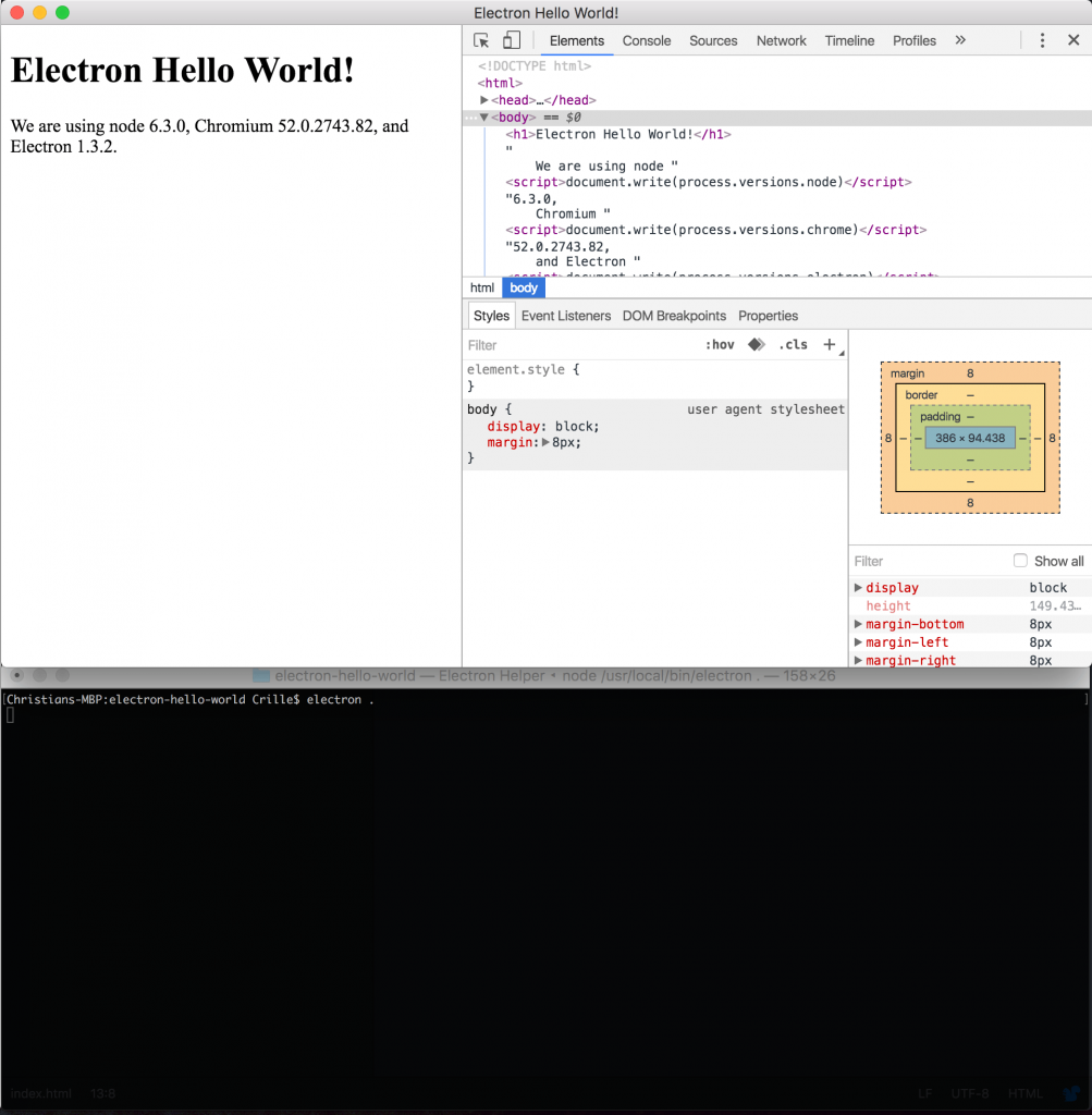 electron hello world running
