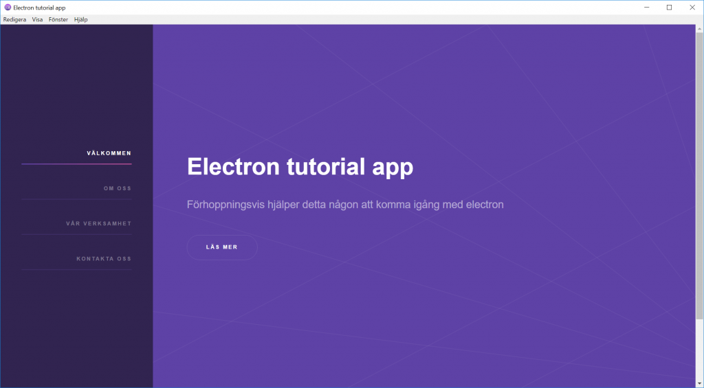 electron tutorial app windows - translated to swedish