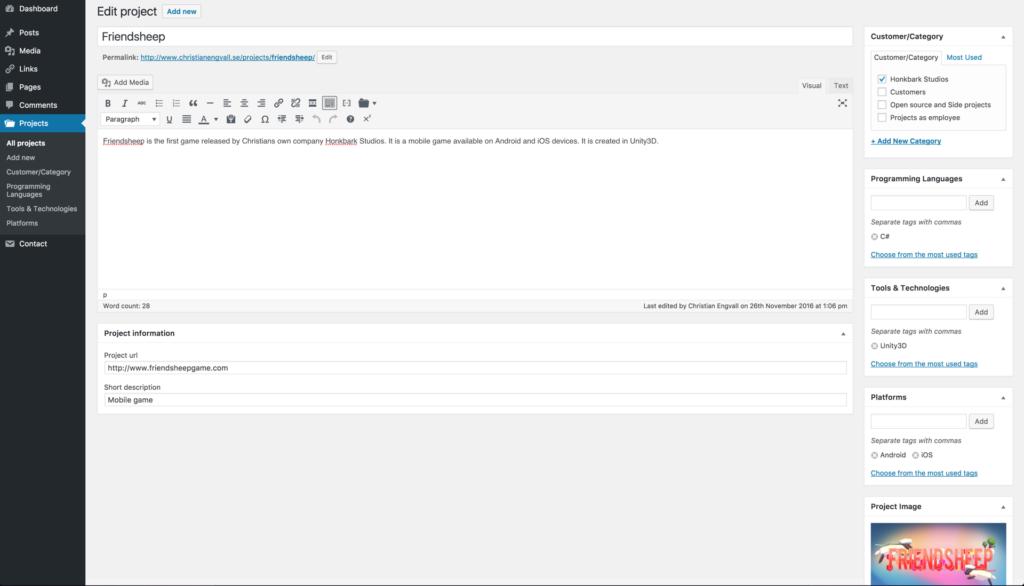 Wordpress developer project plugin - project admin