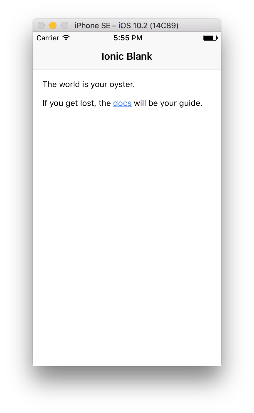 Ionic blank template in ios simulator