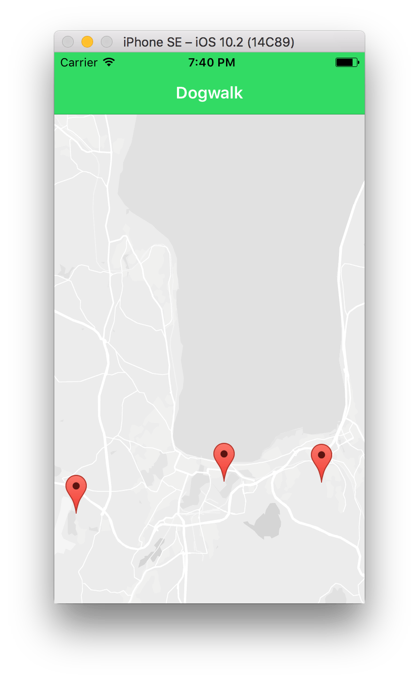 Ionic2 Google maps markers - iOS Simulator displaying dogwalk app with markers