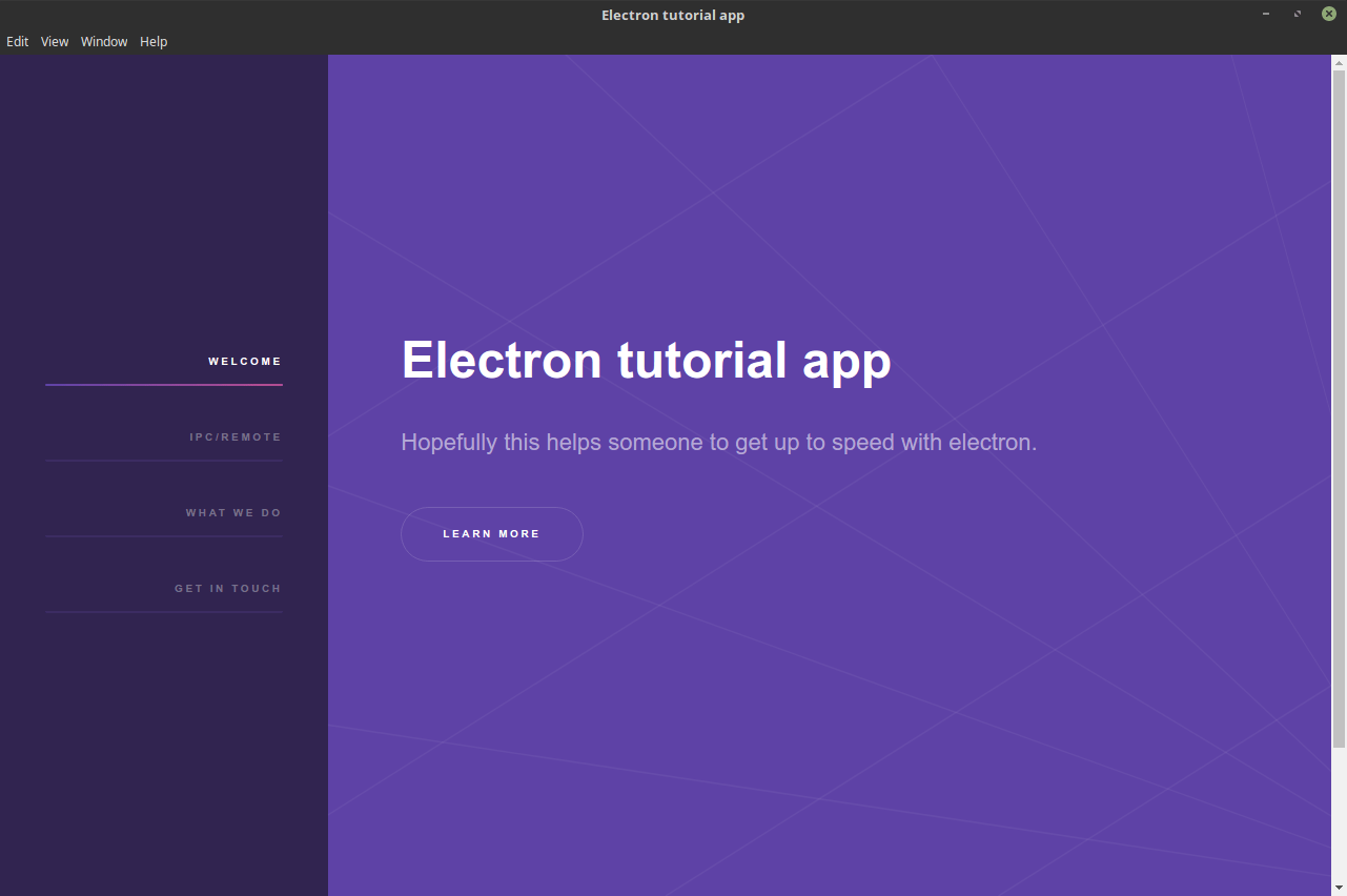 Electron tutorial app on Linux mint
