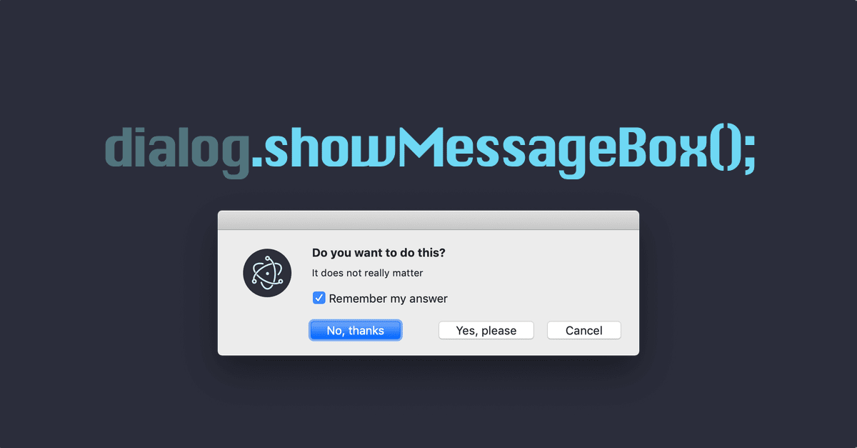 Electron showMessageBox tutorial